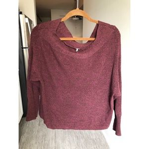 Free People Purple Off the Shoulder Sweater